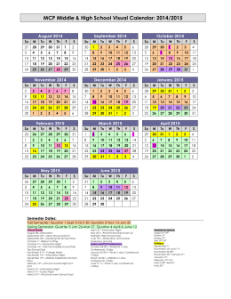 MCP Middle & High School Visual Calendar: 2014/2015