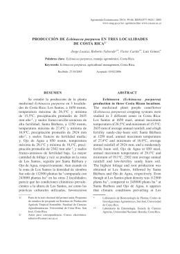 PRODUCCIÓN DE Echinacea purpurea EN TRES LOCALIDADES