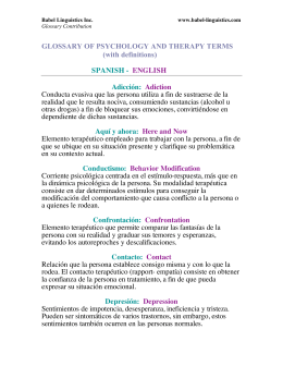GLOSSARY OF PSYCHOLOGY AND THERAPY