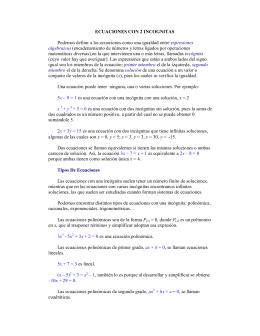 Ecuaciones con 2 incognitas