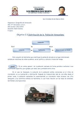 Objetivo 2.3 Distribución de la Población Venezolana