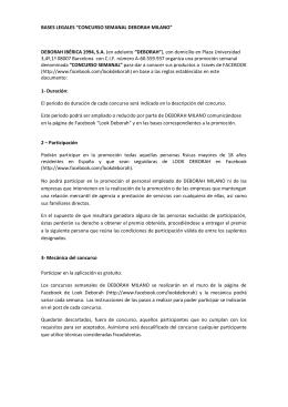"""BASES LEGALES """"CONCURSO SEMANAL DEBORAH MILANO"""