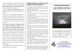 """Tríptico """"Como protegerse ante una tormenta eléctrica"""" - APAF"""