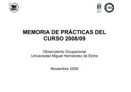 MEMORIA DE PRÁCTICAS DEL CURSO 2008/09