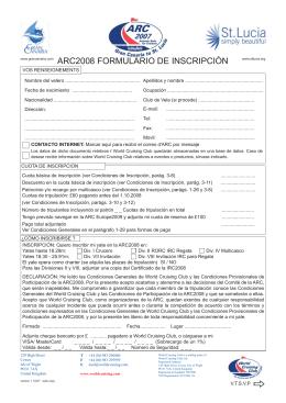 ARC2008 FORMULARIO DE INSCRIPCIÓN