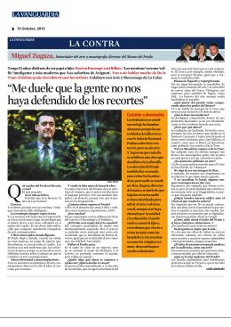 Miguel Zugaza, La Contra 14/10/2015