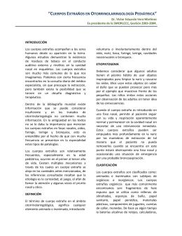 """""""CUERPOS EXTRAÑOS EN OTORRINOLARINGOLOGÍA"""