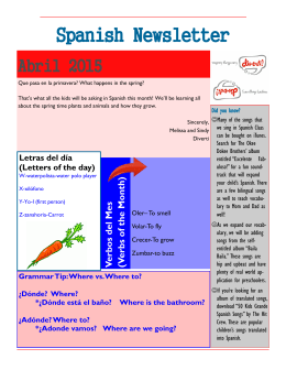 Spanish Newsletter - Especially for Children