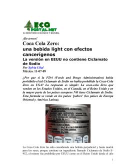 Coca Cola Zero: una bebida light con efectos cancerígenos.