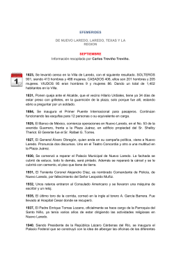 EFEMERIDES DE NUEVO LAREDO, LAREDO, TEXAS Y LA