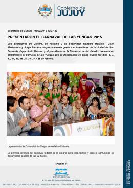 PRESENTARON EL CARNAVAL DE LAS YUNGAS 2015
