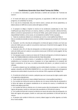 Condiciones Generales Gran Hotel Termas de Chillán.