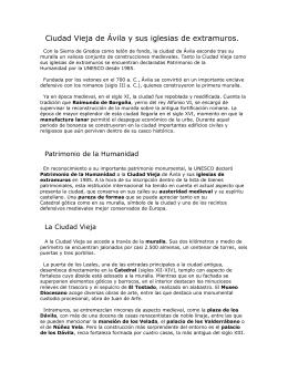 Ciudad Vieja de Ávila y sus iglesias de extramuros.