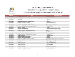 placas de renovacion con giro ordinario octubre 2012 secretaria