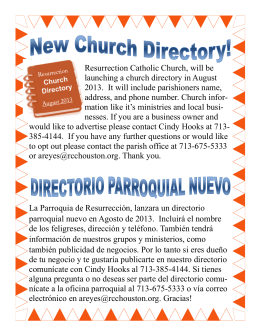 Resurrection Catholic Church, will be launching a church directory
