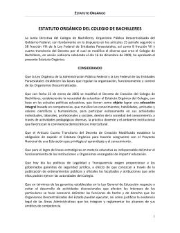 Estatuto Orgánico del Colegio de Bachilleres.