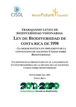 ley de biodiversidad de costa rica de 1998