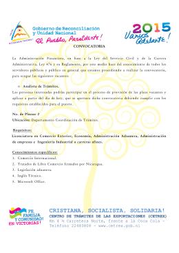 Convocatoria Analistas de Trámites 6 Nov. 2015