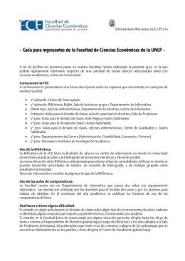 Guía para ingresantes de la Facultad de Ciencias Económicas de la
