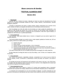"""Bases concurso de bandas """"FESTIVAL ALAMEDA #340"""" Edición 2011"""