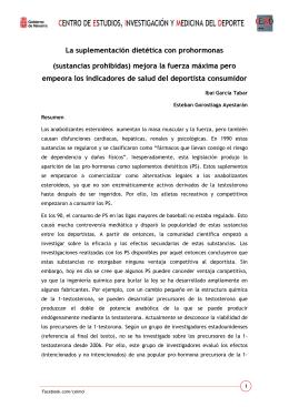 La suplementación dietética con prohormonas (sustancias