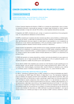 CÁNCER COLORECTAL HEREDITARIO NO POLIPÓSICO (CCHNP)