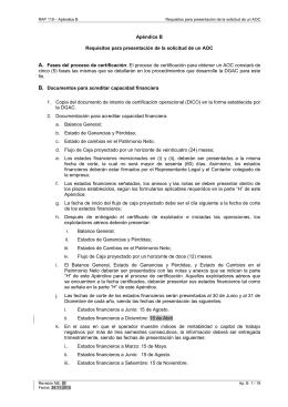 Apéndice B Requisitos para presentación de la solicitud de un AOC