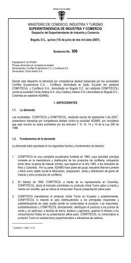 Sentencia 6 de 15/06/2007 - Superintendencia de Industria y