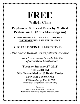 Walk-In Clinic Pap Smear & Breast Exam by Medical Professional