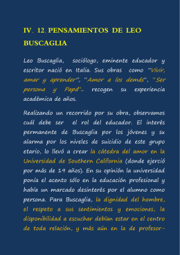 IV. 12. PENSAMIENTOS DE LEO BUSCAGLIA