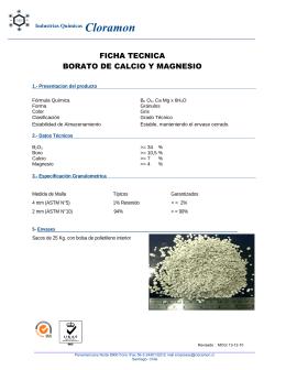 Borato de Calcio y Magnesio - Industrias Quimicas Cloramón