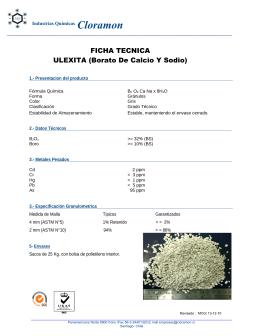 Borato De Calcio Y Sodio - Industrias Quimicas Cloramón