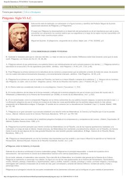 Biografía Matemáticos: PITAGORAS. Versión