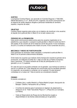SORTEO La empresa Cordina Planet, con domicilio en Avenida