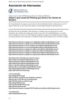 Ataque a gran escala de Phishing que afecta a los clientes de
