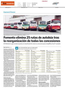 Fomento elimina 25 rutas de autobús tras la reorganización de