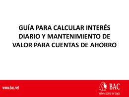 CALCULOS INTERÉS DIARIO Y MANTENIMIENTO DE