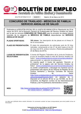 concurso de traslado - médico/a de familia servicio andaluz de salud