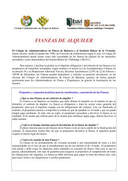 FIANZAS DE ALQUILER - Colegio de Administradores de Baleares