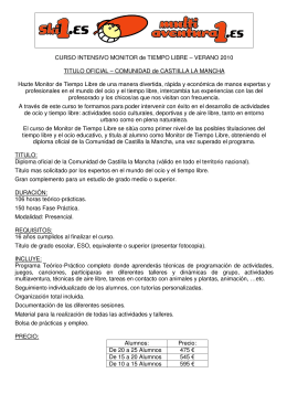 CURSO INTENSIVO MONITOR de TIEMPO LIBRE – VERANO 2010