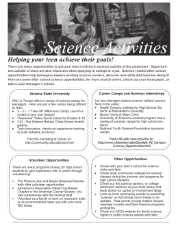 Science Activities Helping your teen achieve their goals!