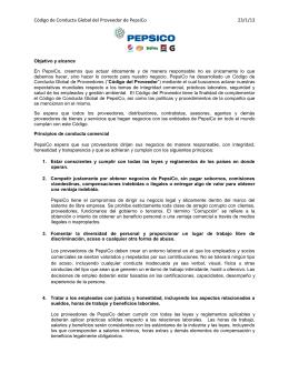 Código de Conducta Global del Proveedor de PepsiCo 23/1/13