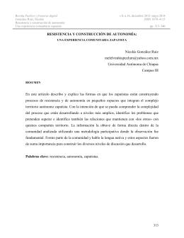 RESISTENCIA Y CONSTRUCCIÓN DE AUTONOMÍA: Nicolás