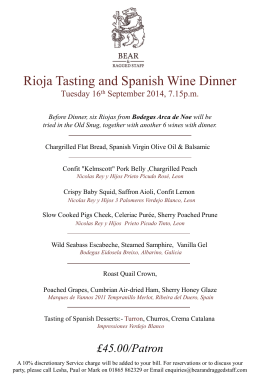 Rioja Tasting and Spanish Wine Dinner