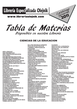 Tabla de Materias
