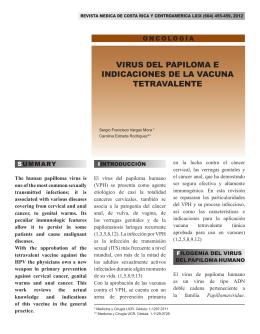 virus del papiloma e indicaciones de la vacuna tetravalente