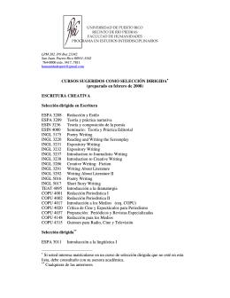 Selecciones dirigidas - Universidad de Puerto Rico, Recinto de Río