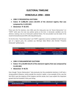 ELECTORAL TIMELINE VENEZUELA 1998 – 2004