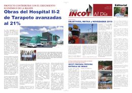 Obras del Hospital II-2 de Tarapoto avanzadas al 21%
