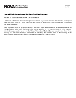 Apostille International Authentication Request